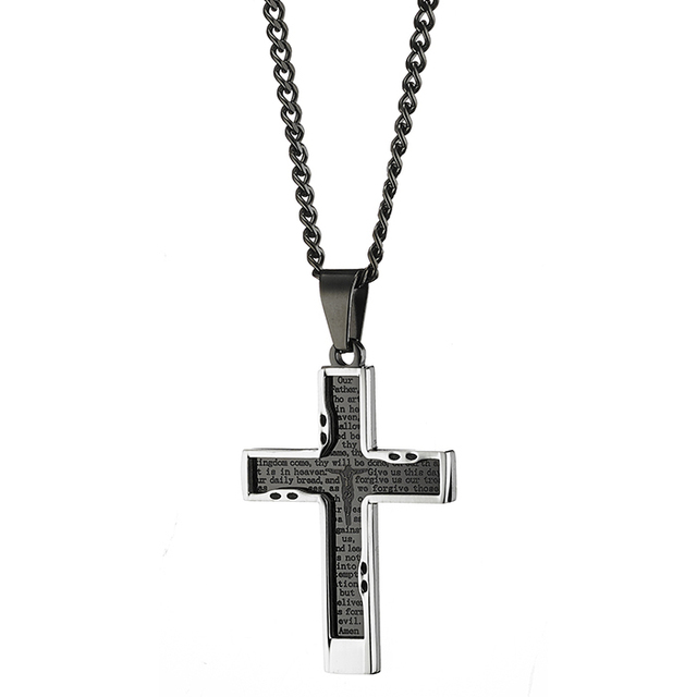 Men's steel cross  316L black