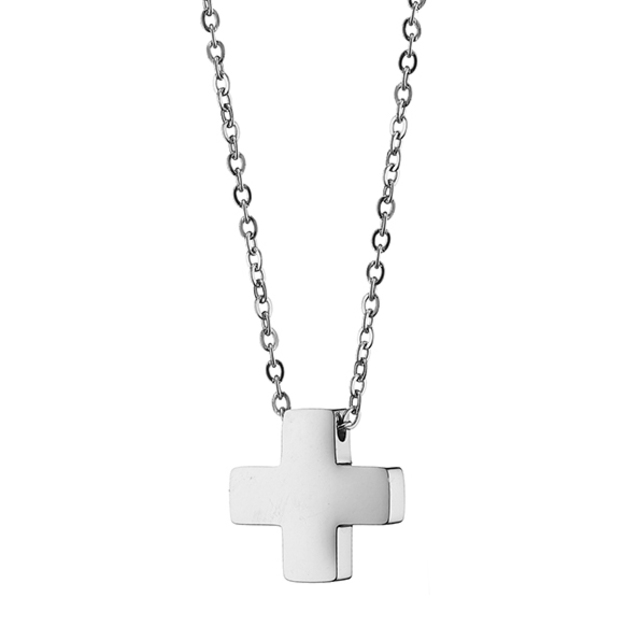 Men's steel cross 316 L silver