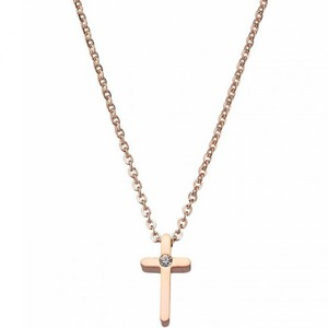 Womens necklace cross steel 316L rose-gold