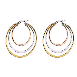 316L steel earrings with silver-gold-pink