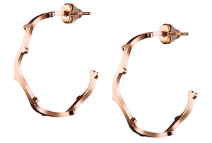 Women's earrings steel rings rose gold