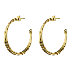 Women's earrings steel rings gold