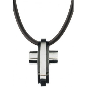 Men's steel cross 316L silver/black colour