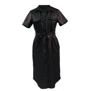 Women's pu leather dress midi bode 1564 black