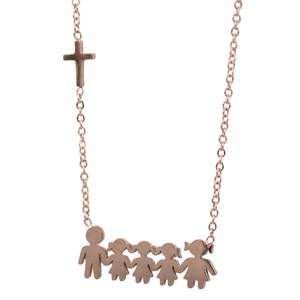 Womens necklace family steel 316L rose-gold