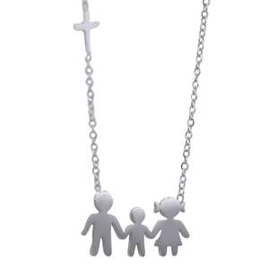 Womens necklace family steel colour silver