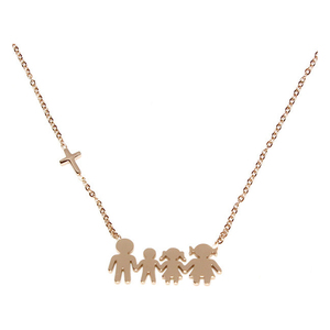 Womens necklace family steel colour Rose-gold